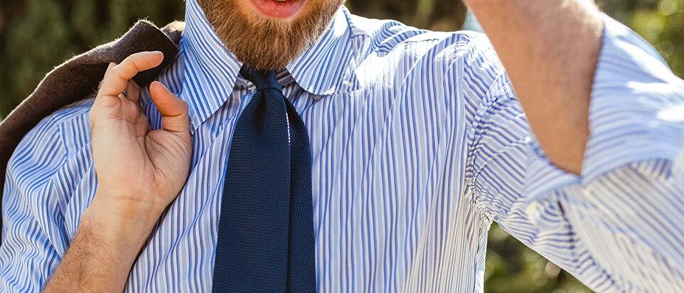 chemise sur-mesure chemise rayée bleue