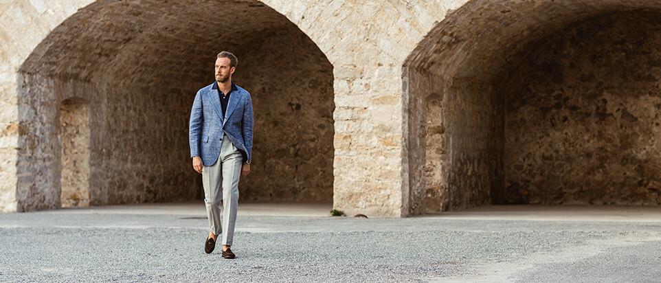 sportswear sur mesure costume casual veste bleue