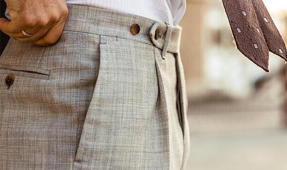 bespoke by pantalon beige bouton