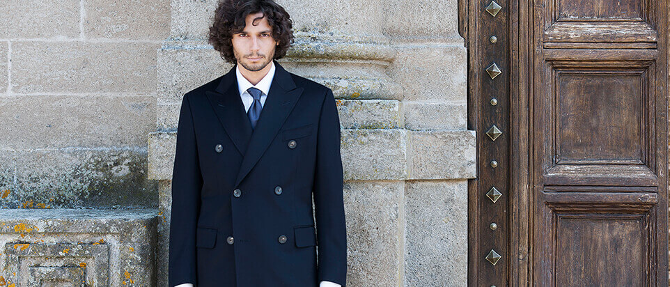 manteau sur mesure manteau long bleu