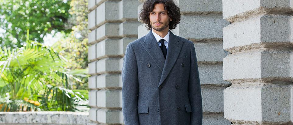 manteau sur mesure manteau long gris hiver